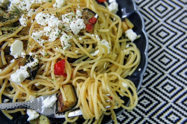 Easy Aubergine, Lemon and Feta Spaghetti