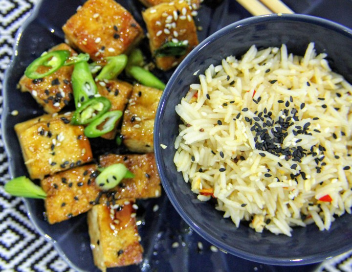 Spicy Teriyaki-Glazed Tofu with Tilda Coconut, Chilli and Lemongrass Rice