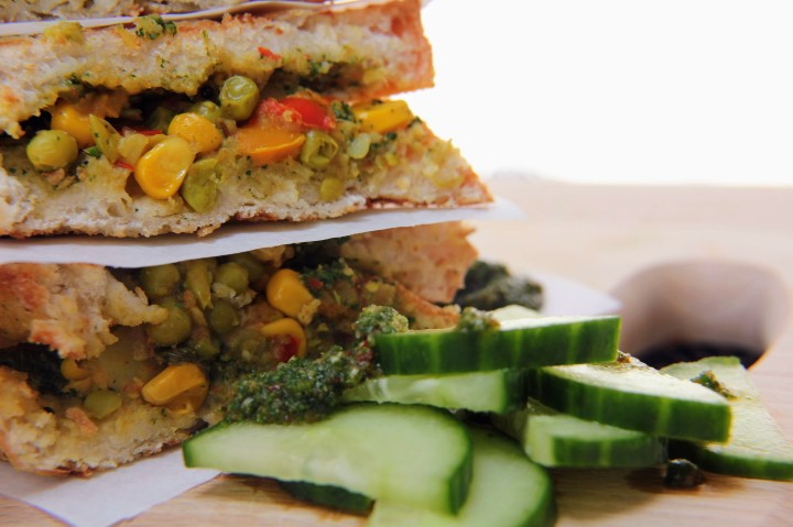 Vegan Pav Bhaji Toasties with Mint and Coriander Chutney