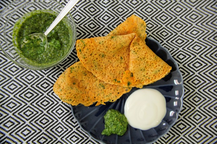Vegan Spicy Chickpea Flour Pancakes with Green Chutney